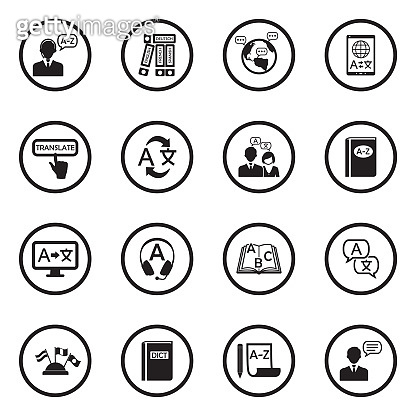 Translation And Dictionary Icons. Black Flat Design In Circle. Vector Illustration.