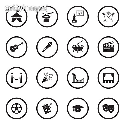 Events Icons. Black Flat Design In Circle. Vector Illustration.