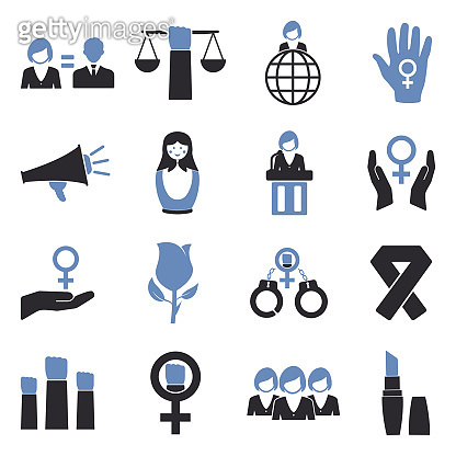 Feminism Icons. Two Tone Flat Design. Vector Illustration.