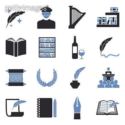 Poetry Icons. Two Tone Flat Design. Vector Illustration.