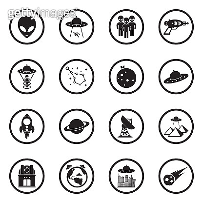 Alien Icons. Black Flat Design In Circle. Vector Illustration.
