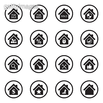 Real Estate Icons. Set 3. Black Flat Design In Circle. Vector Illustration.