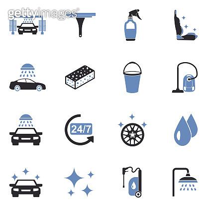 Car Wash Icons. Two Tone Flat Design. Vector Illustration.