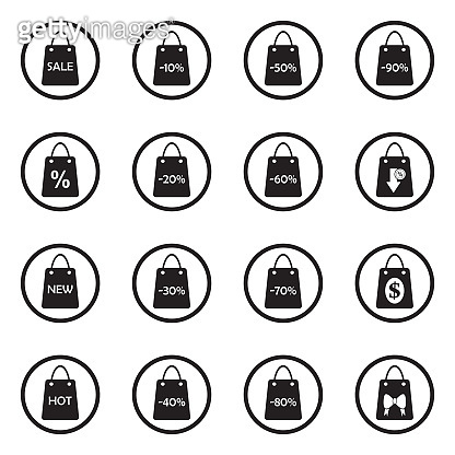 Shopping Bag Icons. Black Flat Design In Circle. Vector Illustration.
