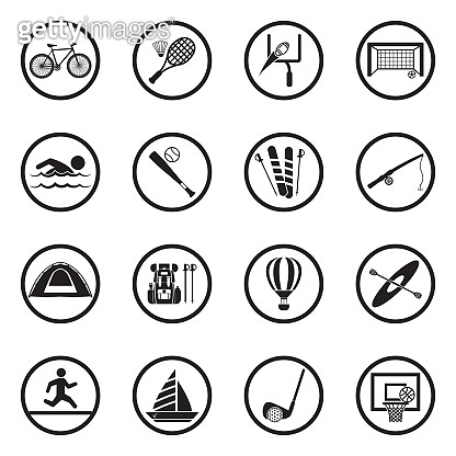 Outdoor Activities Icons. Black Flat Design In Circle. Vector Illustration.