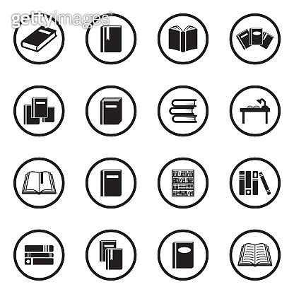 Books Icons. Black Flat Design In Circle. Vector Illustration.