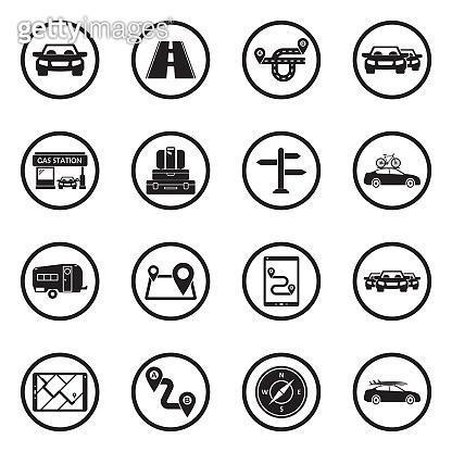 Road Trip icons. Black Flat Design In Circle. Vector Illustration.