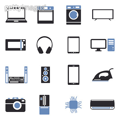 Modern Technology Icons. Two Tone Flat Design. Vector Illustration.