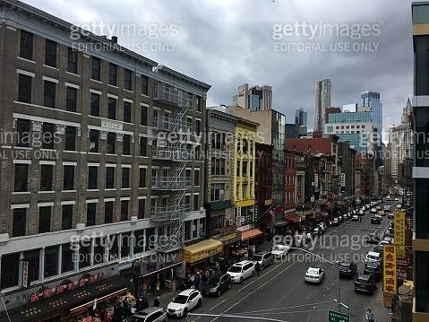 Manhattan New York City China Town street traffic