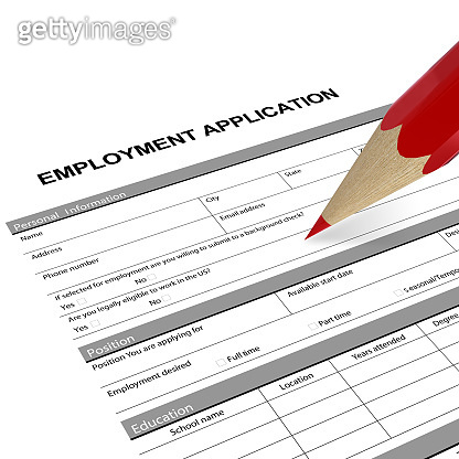 Employment application form job search