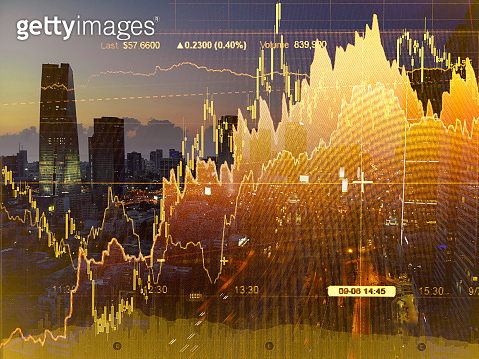 Stock market data chart display finance graph
