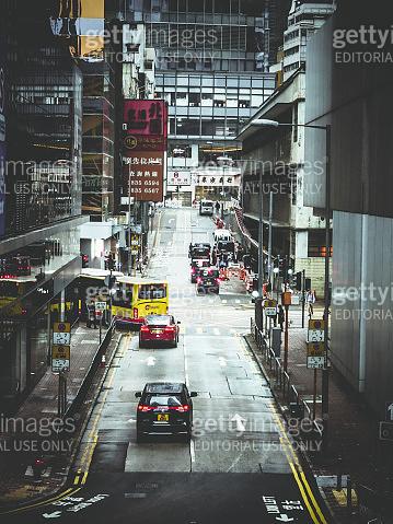 Hong Kong downtown crosswalk street business district