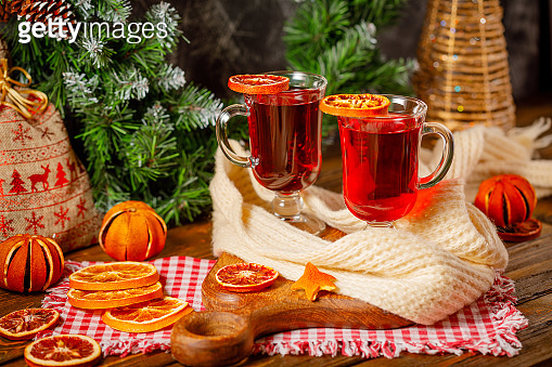 christmas still life with mulled wine and dried oranges