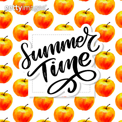 Summer time Watercolor seamless pattern with apples on the white background. Vector illustration. Hand drawn background.