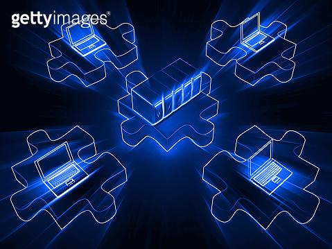 Computer network cloud computing connection puzzle