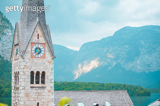 bell tower close up hallstatt austria