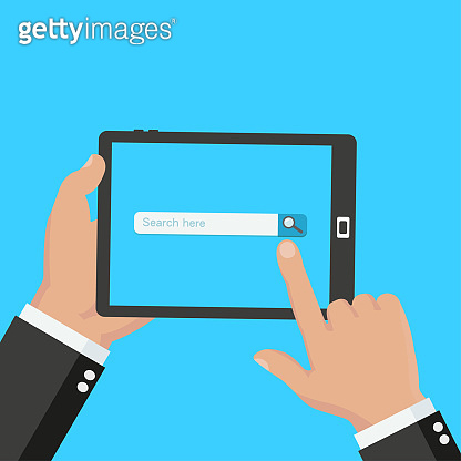 Flat design modern vector illustration concept of social media website with search icon on a digital tablet screen. Isolated on stylish color background - stock vector