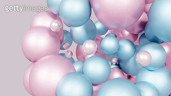 Blue futuristic background with abstract 3D shape of the balls. 3d rendering.  Trendy banner or poster design.
