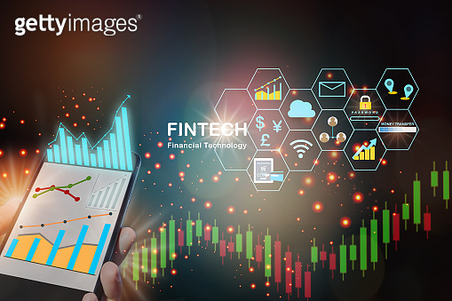 Growth graphs on smartphone with fintech icon on abstract background