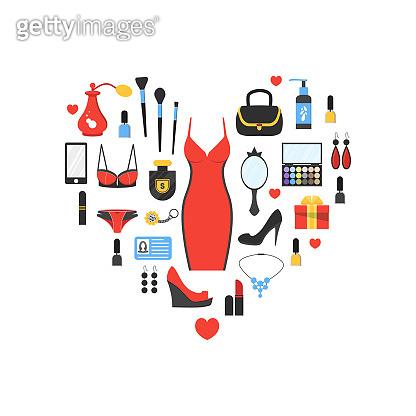 Woman's things set in heart shape