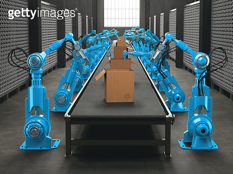 Welding Robots And Conveyor Belt In Automated Factory