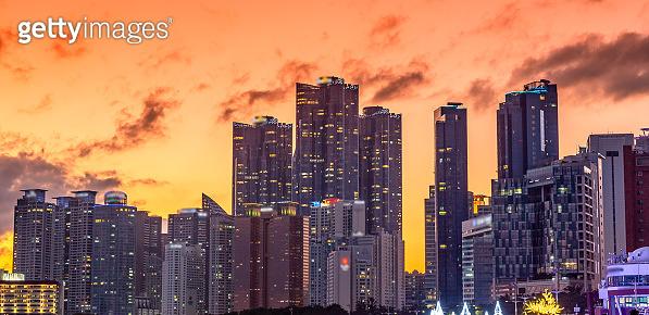 Busan city skyline view at Haeundae beach, Busan, South Korea.