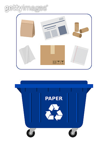 Trash dumpster for paper waste suitable for recycling. Paper recycle, segregate waste, sorting garbage, eco friendly, concept.