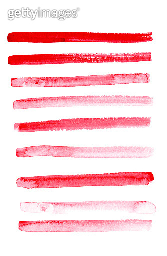 Hand drawn abstract watercolor background with red thin stripes.