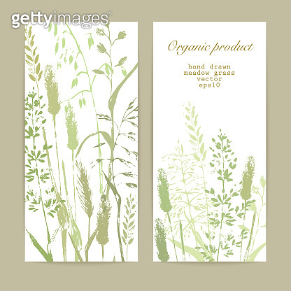 Meadow grass design template background in green colors