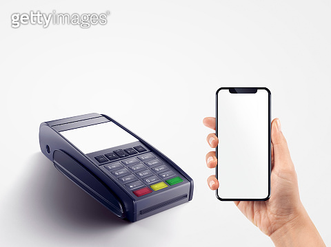 Mobile Phone on Human Hand and Swiping Machine