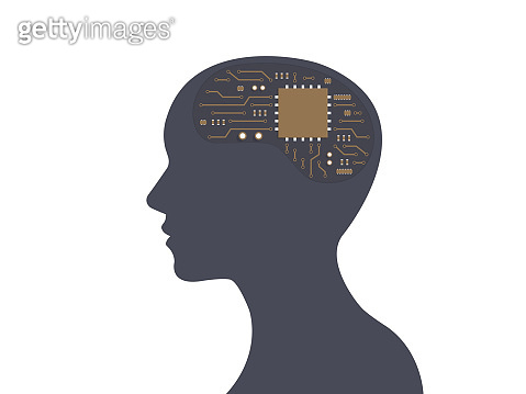 Human head and Electronic circuit inside, Profile face silhouette, Evolution of human