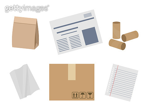 Paper waste suitable for recycling. Food bag, newspapers, cardboard, paper sheet, paper roll. Set of different paper items. Isolated on white background. Vector illustration, flat style.