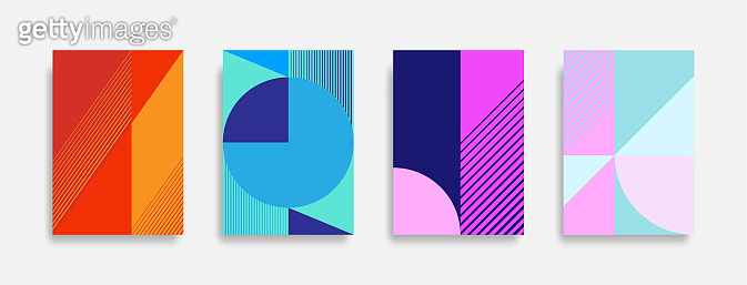 Abstract colorful geometric background set.