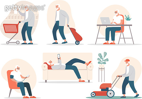 Senior man in different poses and situations. Vector flat cartoon character illustration.