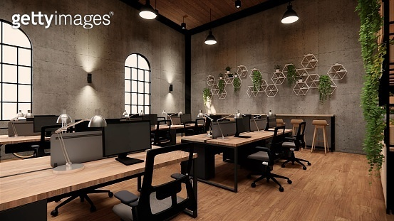 Interior Empty Modern Loft Office open space modern office footage.Modern open concept Lobby and reception area meeting room design. 3dRendering .