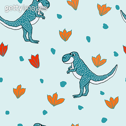Seamless pattern with cute hand drawn dinosaurs on blue background. Fun doodle drawing of tyrannosaurus.