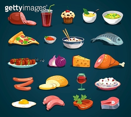 Cartoon food icons set isolated on dark background