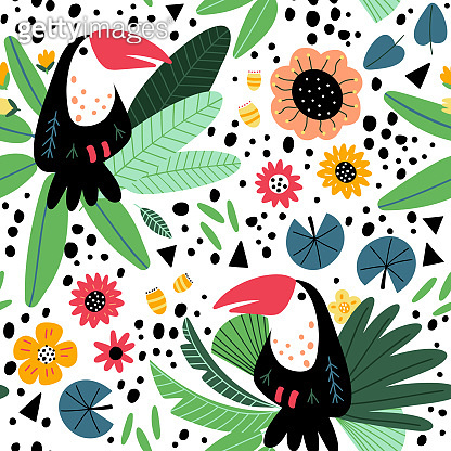 Vector tropical pattern with toucan