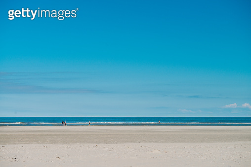 Beautiful horizontal sea landscape during the day on the beach of the Wadden island of Ameland in the Netherlands