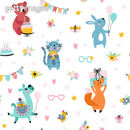 Birthday background with cute animals