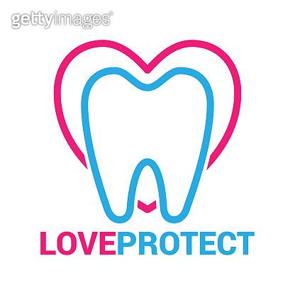 Dental teeth love heart logo - lovely business emblem, logo.