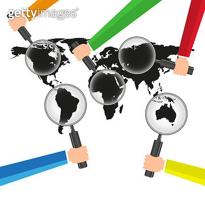 World Searching of Business Success modern design Idea and Concept Vector illustration with Magnifier,hand,World map.