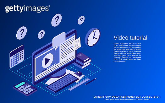 Video tutorial, e-learning vector concept