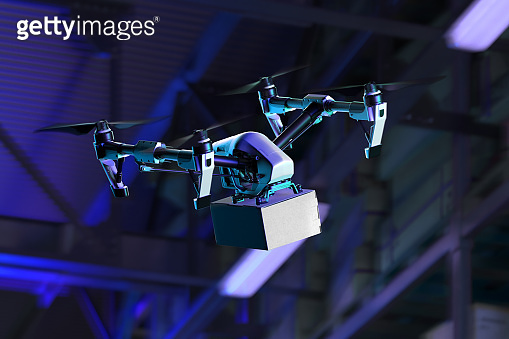 Drone Delivering Box to Buyer From Warehouse at Night Time. Contactless Delivery by Quadcopter. Online Shopping. 3d rendering