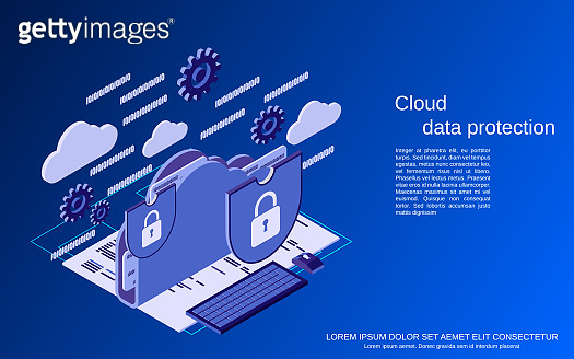 Cloud data protection vector concept