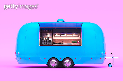 Retro Blue Food Truck With Detailed Interior Isolated on Pastel Pink Background. Takeaway Food and Drinks. 3d rendering