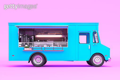 Blue Food Truck With Detailed Interior Isolated on Pastel Pink Background. Cozy Interior With Warm Light. Takeaway Food and Drinks. 3d rendering