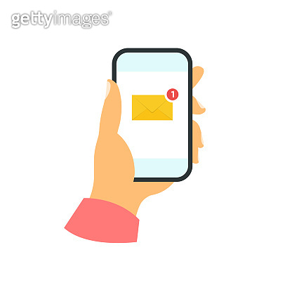 Smartphone in hand concept. New message