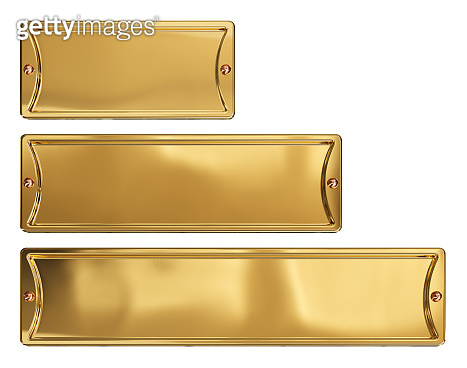 Empty gold or brass metal plates set, isolated on a white background. Clipping path included.