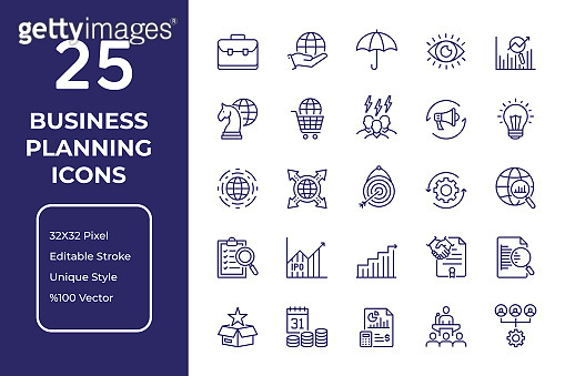 Business Plan Line Icon Design